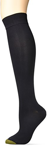 Gold Toe Women's Little Sock Sparkle Knee Highs, 2 Pairs, Black, Shoe Size: 6-9