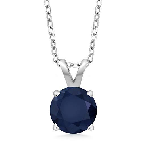 Round Blue Sapphire Pendant - 7