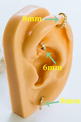 14K Solid Gold Jewelry Cz 8mm Open Round Circle Tragus Cartilage Snug Rook Daith Helix Ear Segment Clicker Hoop Ring Piercing Earring For Women by ONDAISY (Image #7)