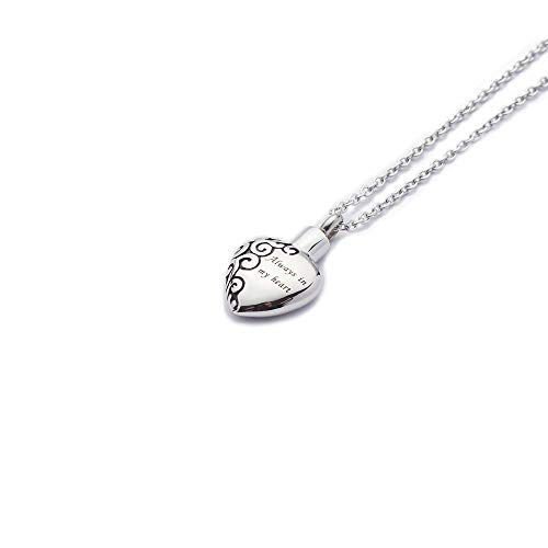 (Charming Lockets Always in My Heart Silver Heart Shaped Urn Necklace for Ashes Cremation Jewelry Keepsake Waterproof Pendant Urn with Free 21'' Long Chain Mini Funnel Filling Kits Beautiful Box )