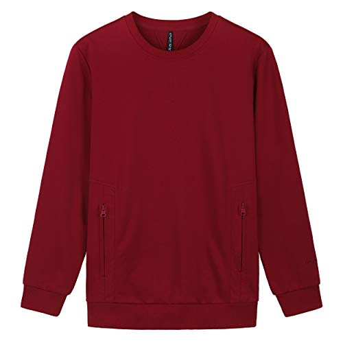 INNERSY Men's Classic Crewneck Cotton Sweatshirt French Terry XS-3XL (3XL, Red)