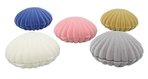XICHEN 5 PCS Shell Jewelry Boxes Flocked Earring Gift Box Jewelry Display, Pink, Blue, Apricot Yellow,Gray,White