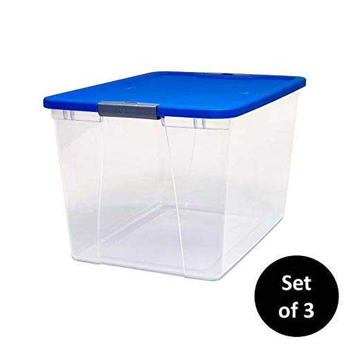 Homz Plastic Storage, With Latching Blue Lids, 64 Quart, Clear, Stackable, 3-Pack