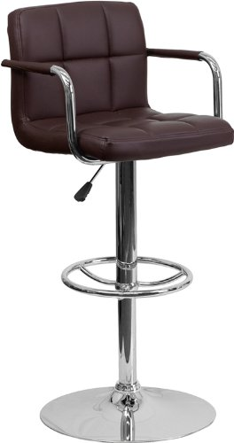 Contemporary Brown Quilted Vinyl Adjustable Height Barstool with Arms and Chrome Base (Bar Contemporary Arms)