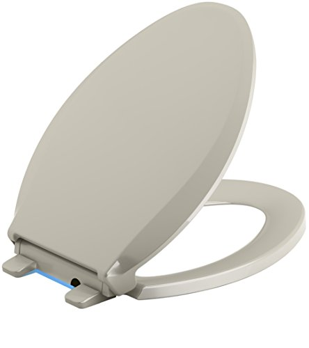 Kohler Bidet Set (KOHLER K-4888-G9 Cachet Nightlight Quiet-Close with Grip-Tight Bumpers Elongated Toilet Seat, Sandbar)
