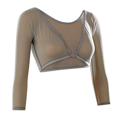 Onefa Women's Basic 3/4 Length Slip-on Mesh Sleeves - Women Both Side Wear Sheer Plus Size Seamless Arm Shaper Crop Top Shirt Blouses