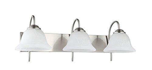 IN HOME 3-Light VANITY/BATHROOM FIXTURE VF41, Satin Nickel Finish with Alabaster Glass Shade, UL (3 Light Bathroom Fixture)