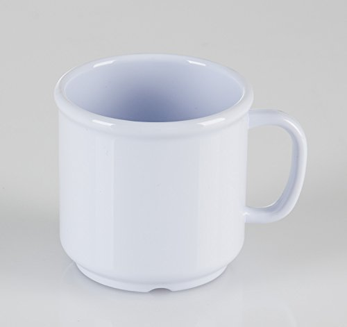 Clipper Commercial Plastic Coffee Mug, 10 oz, White, 6 pack