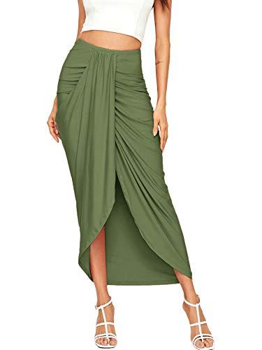 SheIn Women's Casual Slit Wrap Asymmetrical Elastic High Waist Maxi Draped Skirt