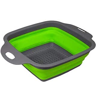 Collapsible silicone kitchen strainer over the sink with handles