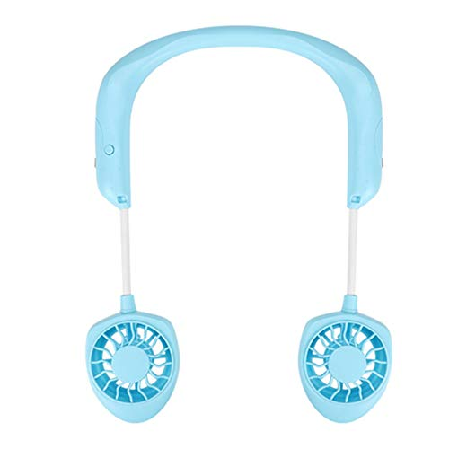 Portable USB Rechargeable Neckband Lazy Neck Hanging Style Cooling Fan for Office Outdoor Travel (Blue)