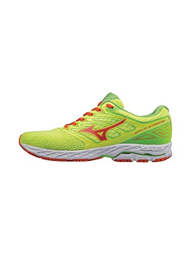 Mizuno Running Men's Mizuno Wave Shadow Running-Shoes,Safety Yellow/Red Orange/Jasmine Green,7 D US