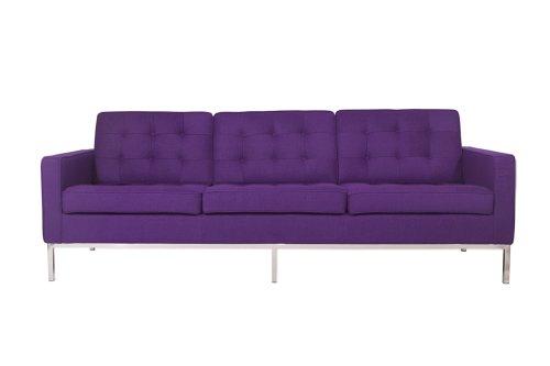 LeisureMod Modern Lorane Sofa in Wool, Purple