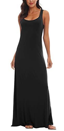 (Urban CoCo Women's Floral Print Sleeveless Tank Top Maxi Dress (XL, Black))