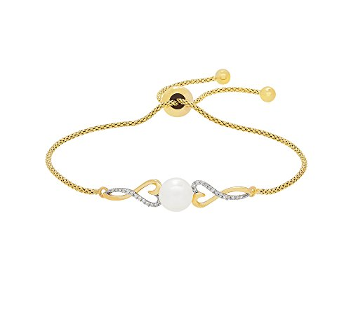 10K Yellow Gold Cultured Freshwater Pearl And .08 Ct. T.W. Diamond Accent Heart Bracelet (0.08 Ct Tw Heart)