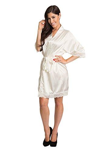(Zynotti Women's Tone-on-Tone Matching Lace Trim Ivory Satin Robe S/M)