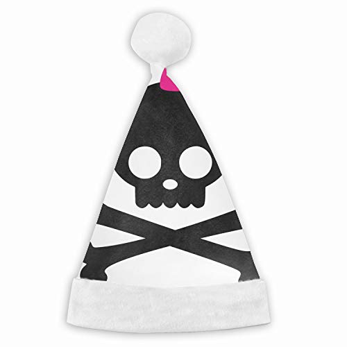 Girly Skull and Crossbones Velvet Santa Hat with Plush Trim, Two Size Fits Most for Adult's and Child