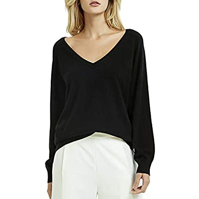 Kallspin Women's Deep V Neck Cashmere Wool Blended Sweater Relaxed Fit Soft Knit Sweater Long Sleeve Pullover for Fall Winter at Women's Clothing store