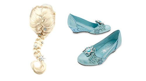 Disney's Frozen Silver Snowflakes Elsa Wig and Shoes Costume Accessory Bundle 11/12