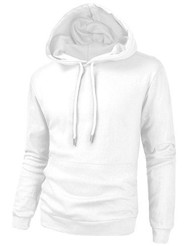 TOV9 Mens Long Sleeve Pullover Hooded Sweatshirt Slim Fit Lightweight Hoodie White M (Pullover Slim Lightweight)