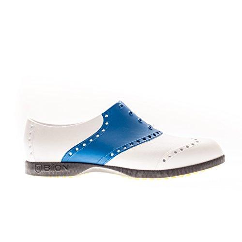 Biion Saddle Unisex Golf Shoes - White/Royal Blue - Men's (5(W7))