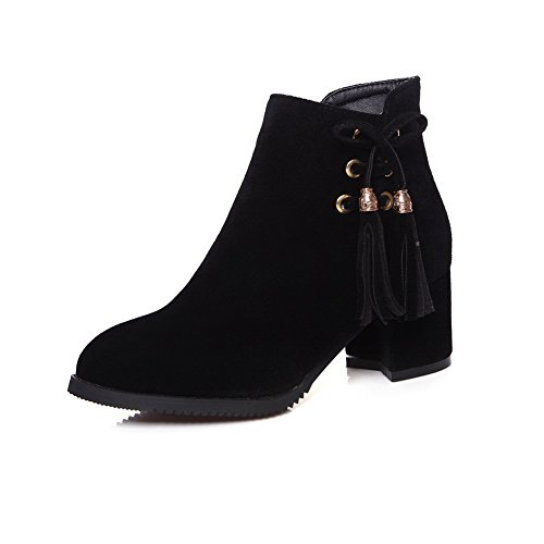 Pointed Black Fashion Tassels Toe Womens BalaMasa ABL10115 Boots Urethane E7Sq1Wx
