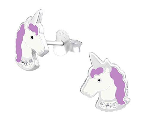 - Hypoallergenic Sterling Silver Unicorn Stud Earrings for Little Girls (Crystal/Purple)
