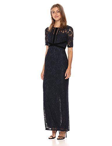 Adrianna Papell Women's Long Lace Dress with Velvet Trim, Midnight, 10