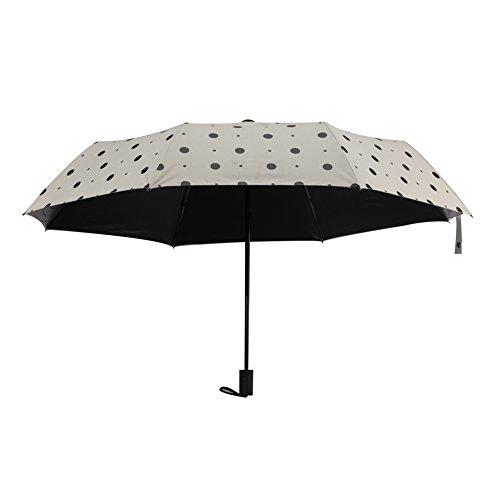 Black Vinyl UPF 50+ Sun UV Umbrellas Strong Windproof Compact Rain Umbrella (Black and white)