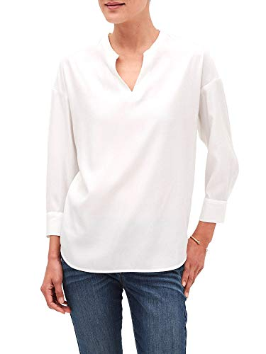 Banana Republic Womens 100% Split Neck 3/4 Sleeve Pullover Blouse Top White (Large)