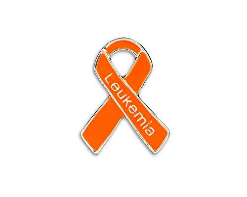 Leukemia Ribbon - Leukemia Awareness Orange Ribbon Pins in Bag (25 Pins - Wholesale)