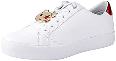 TOMMY HILFIGER Women's Mascot Essential Sneakers 100% Leather, White, 36 EU