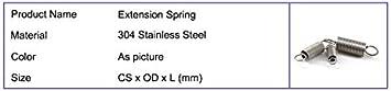 Taille : 0.5x5x15mm F-MINGNIAN-SPRING 10pcs Inoxydable Extension en Acier /à Ressort 0,5 mm d/épaisseur avec des Crochets Ressorts de Traction 15-50mm Petit Ressorts de Traction