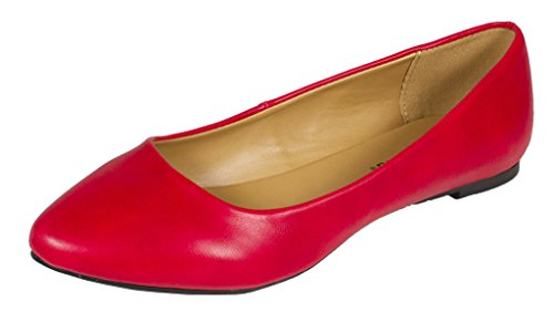 City Classified Sadler Womens Almond Toe Slip on Ballet Flats Red Leatherette fw9KR