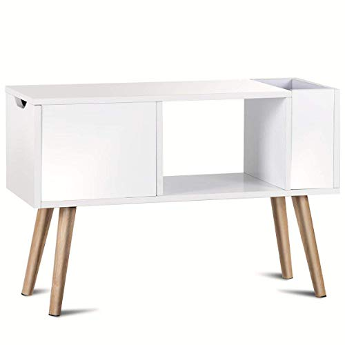 End Table Living Room Furniture Contemporary Home Media Television Side Table w/Storage Drawer Solid Wood Legs,White ()