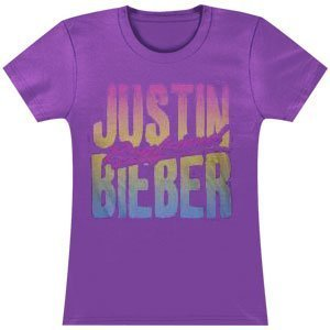 Justin Bieber Juniors Beach Boyfriend Girlie Short Sleeve Tee Purple JUS1438