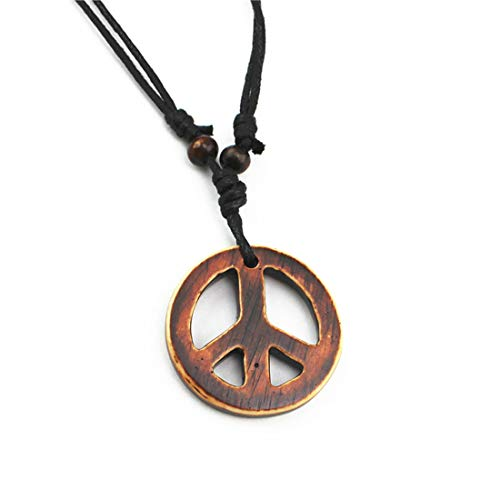 Handmade Adjustable Love Peace Sign Hippie Pendant Necklace Vintage Rope Chain Resin Weave ()