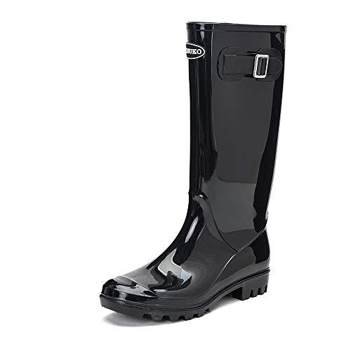 DKSUKO Women's Rain Boots Waterproof Knee High Wellington Boots (10 B(M) US, Black) ()