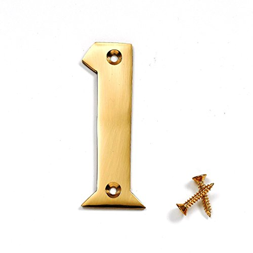 Bulk Hardware BH04268 Solid Brass Polished and Lacquered Numeral Number 1, 50 mm, 2 inch