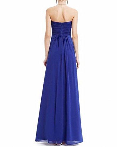 der Ausschnitt Leader Lang Kleid Blau Brustumfang Schönheit Party Gerüscht Damen Runder Königsblau H70nZd0