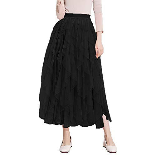 Itemnew Women's Tulle Elastic Waist Ruffle Porm Party Layered Mesh Long Skirt (One Size, Black)