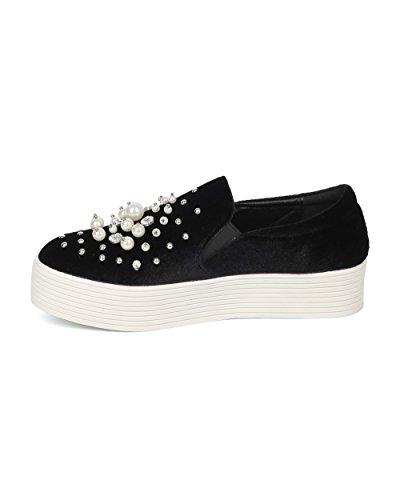 Wild Slip HF86 Faux by Alrisco on Rhinestones Black Velvet Velvet Sneaker Pearl Women Diva and Collection Flatform qxxB70v