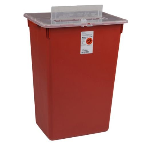Covidien 31143665 Sharps-A-Gator Sharps Container, Slide Lid, 10 gal Capacity, Red (Pack of 6)