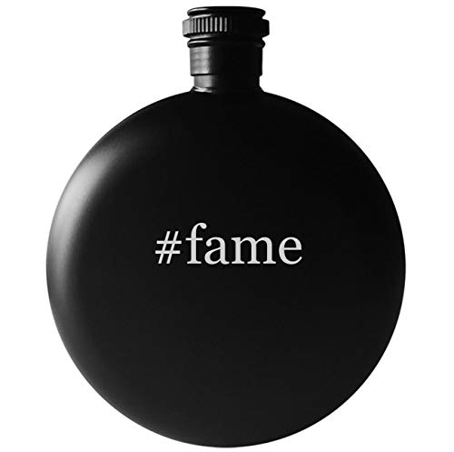 #fame - 5oz Round Hashtag Drinking Alcohol Flask, Matte Black
