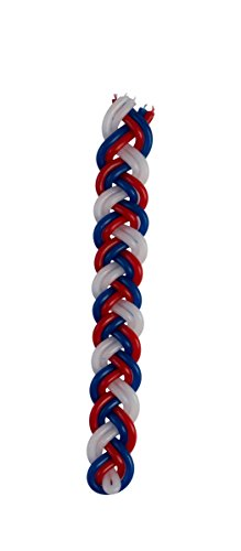 Braided Havdalah Candle - Flat Red, Blue and White Paraffin Wax - Shabbat Judaica Gift - By Ner Mitzvah