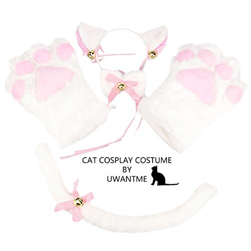 Cat Cosplay Costume Kitten Tail Ears Collar Paws Gloves Anime Lolita Gothic Set White (Anime Girl With Fox Ears And Tail)