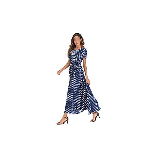 Women Long Polka Dot Dress Short Sleeves High Waist Dress Tie A-Line Vintage Maxi Chiffon Dress,Blue,XXL Baker Polka Dots Tie
