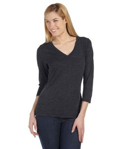 Missy Jersey 3/4-Sleeve V-Neck Tee (Dark Grey Heather) (Large)