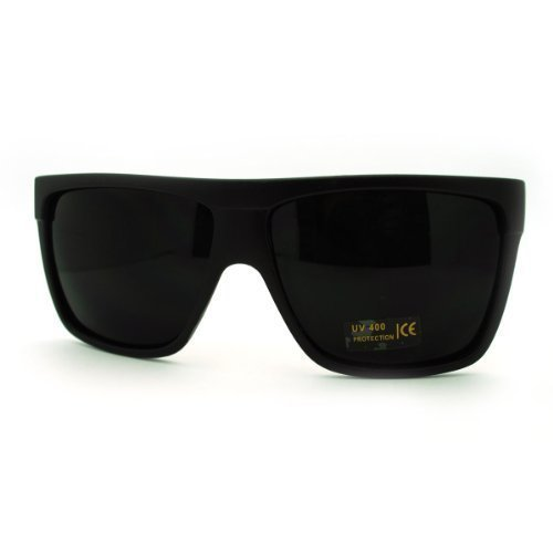 SUPER Dark Black Lens Sunglasses Flat Top Square Oversized Mob - Dark Lens Sunglasses