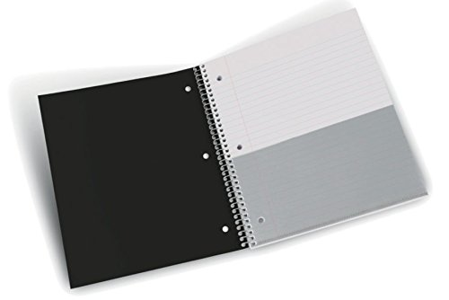 Stellar Wide Ruled Notebook, 3-Subject, 3 Poly Pocket Dividers, 8 x 10-1/2-inches, 150 Sheets (Black)